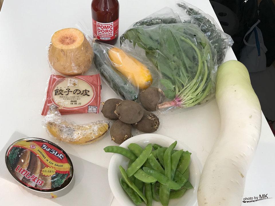 サルベージクッキングで集まった食材の数々