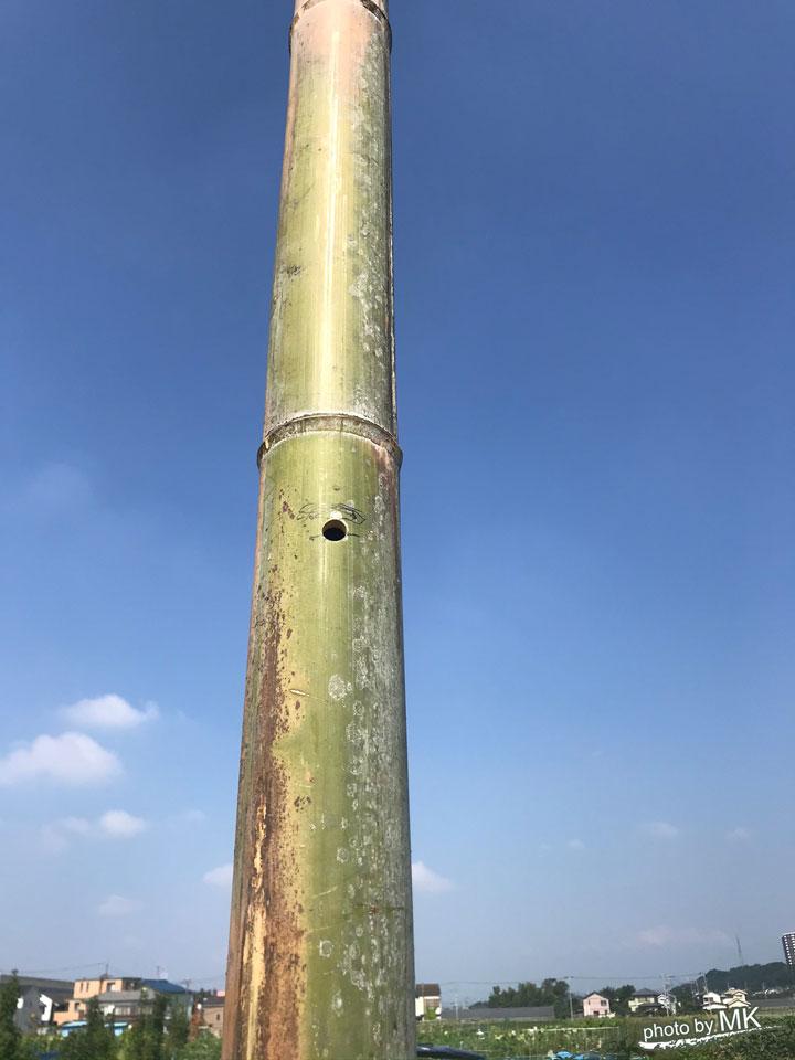 支柱に穴が開いたところ